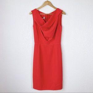 Oscar De La Renta Muted Red 100% Wool Sheath Dress
